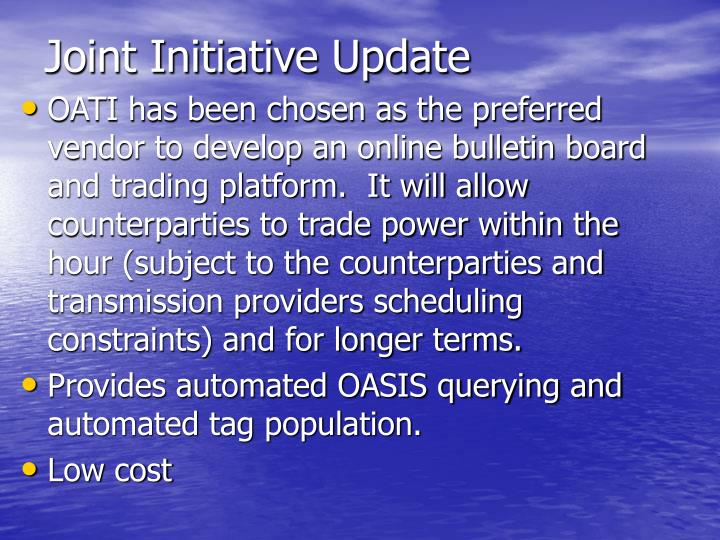 joint initiative update n.