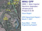 minu gpp wbs 1 main injector neutrino upgrades infrastructure project 6 6 49