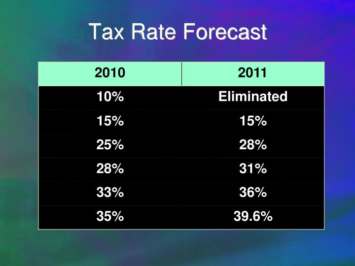 Tax rate forecast