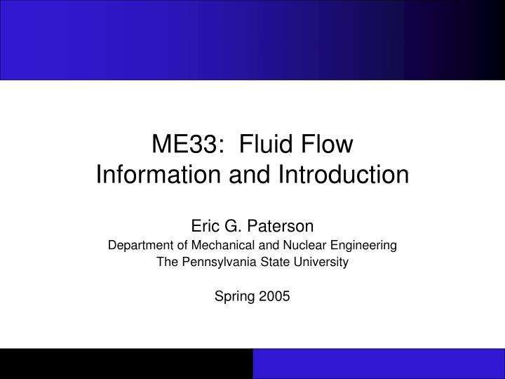 me33 fluid flow information and introduction n.