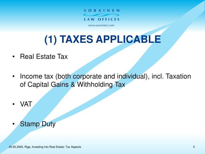 1 taxes applicable