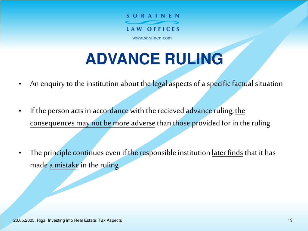 ADVANCE RULING