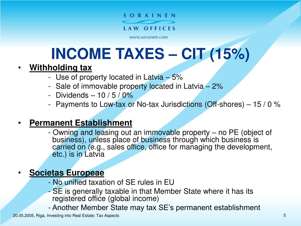 INCOME TAXES – CIT (15%)