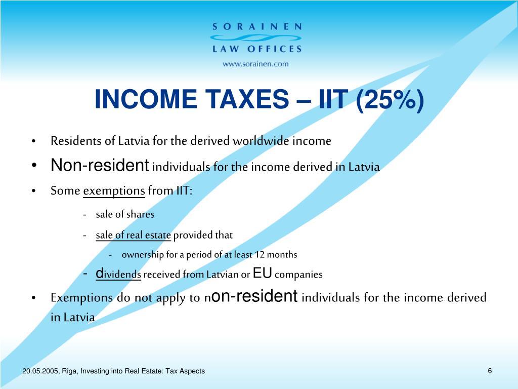 INCOME TAXES – IIT (25%)