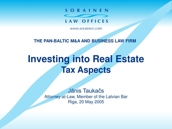 Investing into real estate tax aspects