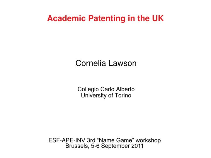 academic patenting in the uk n.