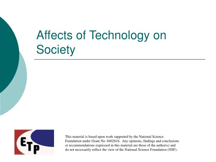 affects of technology on society n.