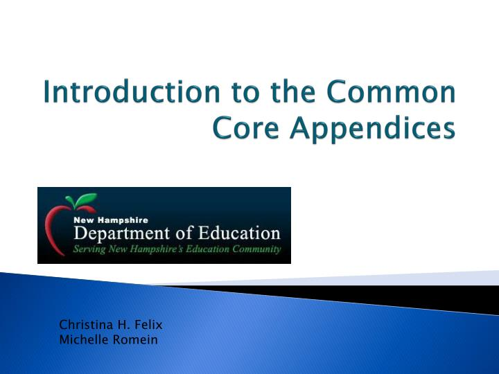 introduction to the common core appendices n.