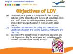 objectives of ldv