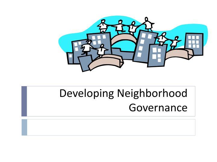 developing neighborhood governance n.