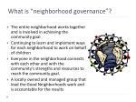 what is neighborhood governance