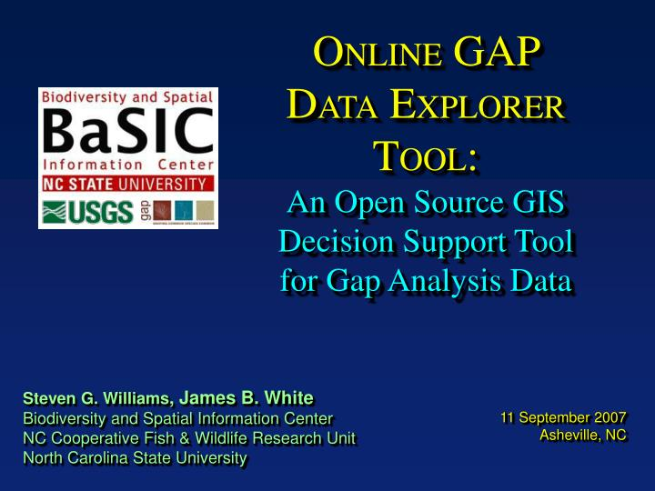 o nline gap d ata e xplorer t ool an open source gis decision support tool for gap analysis data n.