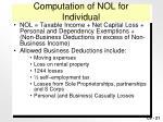 computation of nol for individual