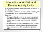 interaction of at risk and passive activity limits