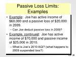 passive loss limits examples
