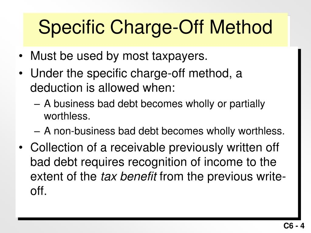 Charged Off As Bad Debt >> Ppt Taxation Of Business Entities Powerpoint Presentation