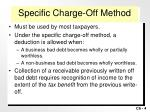 specific charge off method