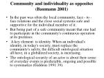 community and individuality as opposites baumann 2001