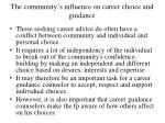 the community s influence on career choice and guidance