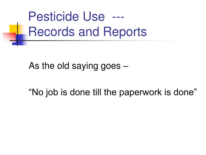 pesticide use records and reports n.