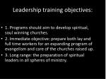 leadership training objectives