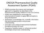 ondqa pharmaceutical quality assessment system pqas