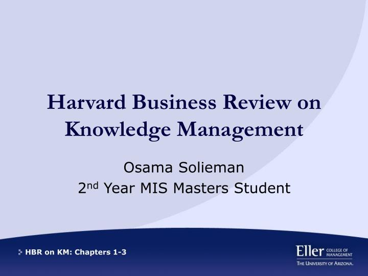 harvard business review on knowledge management n.