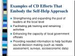 examples of cd efforts that embody the self help approach