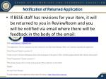 notification of returned application