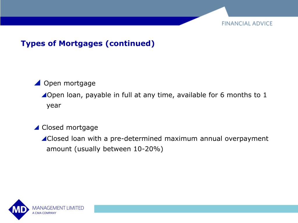 Types of Mortgages (continued)