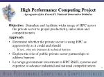 high performance computing project a program of the council s national innovation initiative