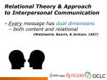 relational theory approach to interpersonal communication