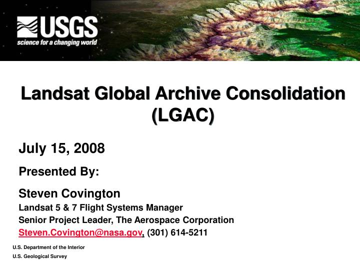 landsat global archive consolidation lgac n.