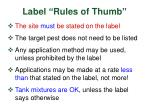 label rules of thumb