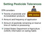 setting pesticide tolerances