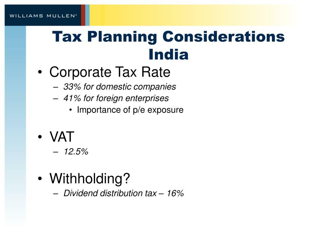 Tax Planning Considerations