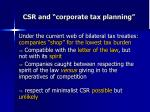csr and corporate tax planning