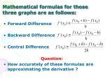 mathematical formulas for those three graphs are as follows