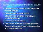 other fundamental planning issues