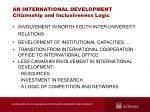 an international development citizenship and inclusiveness logic