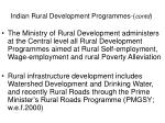 indian rural development programmes contd