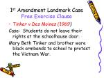 1 st amendment landmark case free exercise clause