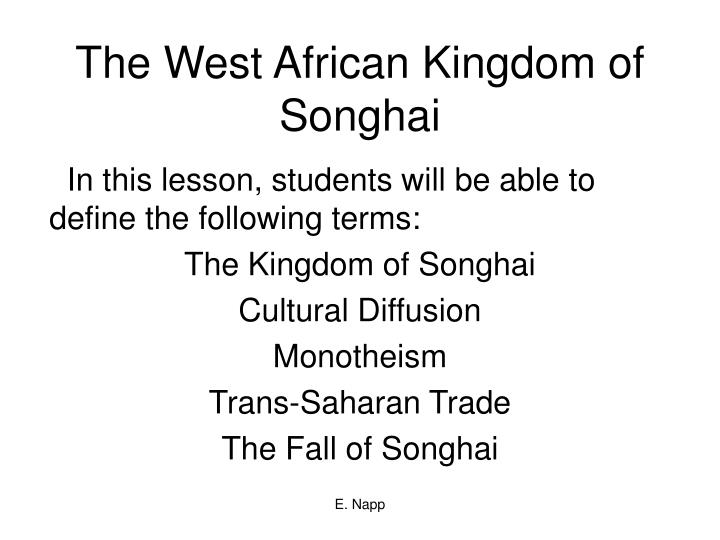 the west african kingdom of songhai n.