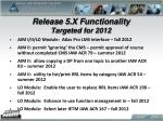 release 5 x functionality targeted for 2012