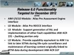 release 6 0 functionality targeted for december 2012 contd