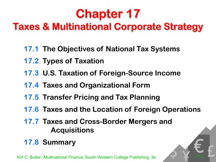 Chapter 17 taxes multinational corporate strategy