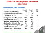 effect of shifting sales to low tax countries