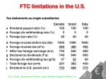 ftc limitations in the u s