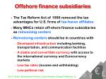 offshore finance subsidiaries