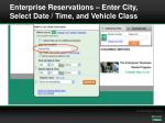 enterprise reservations enter city select date time and vehicle class